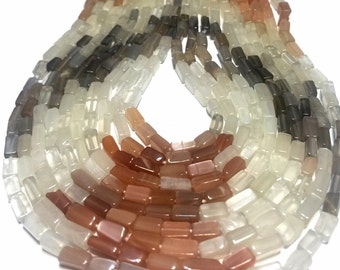 "Multi colored moonstone gemstone shaded rectangular beads full 14"" stand."