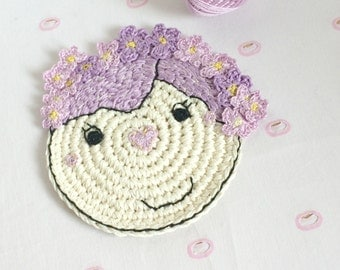 Coaster with Girl - Coaster with Flowers - Crochet Flower Coaster - Home Decor - Housewarming Gift - Valentines Gift for Her - Nursery Decor
