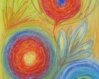 "Original Abstract Pastel Drawing on Paper Blue, Red, Orange, White, Yellow, Purple, Green by Robin Winningham 8 1/2"" x 11"""