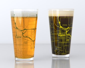 Eugene, OR - University of Oregon - College Town Pint Map Glasses