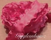 1.5 inch DOUBLE RUFFLE Satin Ribbon- Hot Pink 5 YaRDS Great for Hair bows Scrapbooking Crafts- Headband Supplies- Diy Hair Bows