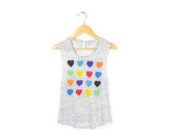 Grid Hearts Tank - Scoop Neck Flowy Muscle Tee in Heather Grey Marl & Rainbow Hearts - Women's Size S-2XL
