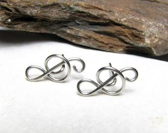 Minimalist stud earrings Small earrings Treble clef stud earrings Non allergic earrings Stainless steel earrings Surgical steel jewelry
