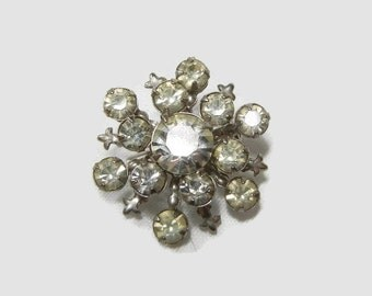 Rhinestone Brooch / Starburst pin with vintage rhinestones / costume jewelry / Great Gatsby / snowflake brooch / Sparkly / Mother