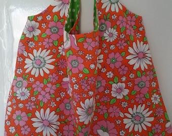 Vintage French Cotton Happy Shopper Bag