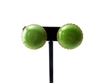 Pair of 60's or 70's Vintage Circular / Round Dome Kelly Green Lucite & Gold Tone Metal Unmarked Clip on Earrings