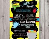 Digital Chalkboard Style Splash Style 3 Water Birthday Party Invitation Printable
