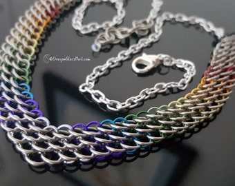 Rainbow Dragonscale Chainmaille Necklace
