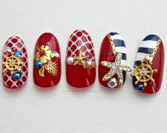 Ahoy! Nautical Fake False Press On Nails Nail Art,  Summer Nail, Anchor, Red White Blue Nail Art, 3D Fake Nails, False Nail, Acrylic Nail