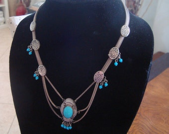 Vintage 800 Silver Niello with Turquoise Festoon Necklace