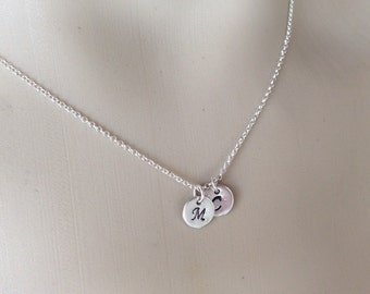 Personalized necklace in Sterling silver - hand stamped  - fashion jewelry - Mother gift - disc pendant