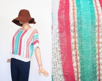 Vintage Woven Knit Top / Slouchy Sweater / Striped / Boxy Crochet Blouse / Net Shirt / Dolman Sleeve / Open Size