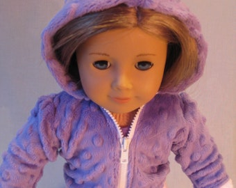 """Hoodie Lavender and Pink Minky Dot Zippered Hoodie fits American Girl Doll 18"""" Doll Clothes Jacket Purple coat"""