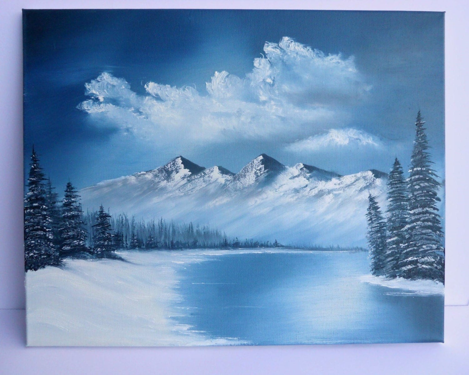 snowy mountain landscape painting. zoom snowy mountain landscape painting s