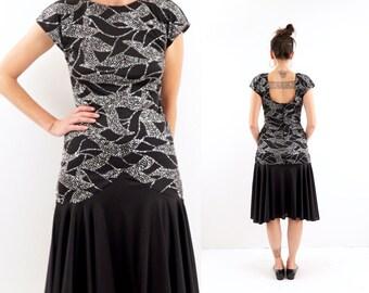 vintage silver SEQUIN glitter drop waist OPEN back PARTY dress, S-M
