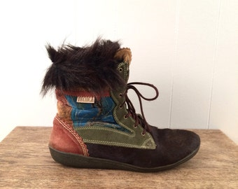 vintage PATCHWORK for TECHNICA boots - mens 9 us, womens 11 us, 43 eur