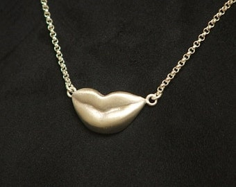 "KISSING LIPS Necklace Sterling Silver 18"" Ready to Ship"