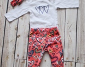 SALE- Girls Valentines Day Outfit - RTS- Happy Hearts leggings, shirt, and turban - from Mellon Monkeys