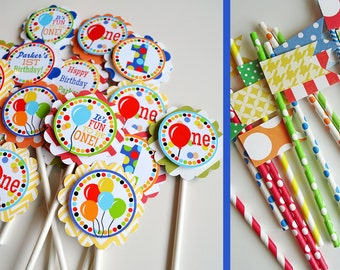 Balloon Birthday Party Cupcake Toppers & Straws Fully Assembled Decorations