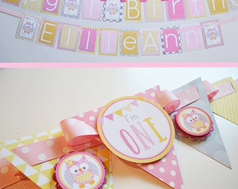 Girl Owl Birthday Party Decorations Package Fully Assembled