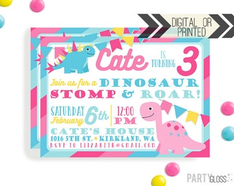 Girl Dinosaur Invitation - Digital or Printed | Dinosaur Printable | Dino Birthday Invitation | Dinosaur Girl Invitation | Dinosaur Birthday