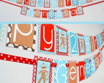 Sock Monkey Birthday Banner - Blue Red Brown Fully Assembled Decorations