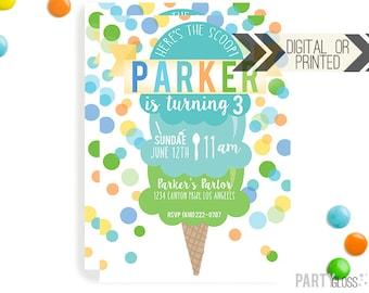 Ice Cream Invitation | Digital or Printed | Ice cream Cone Invitation | Boy Ice Cream Invitation |  Ice Cream Invite Boy | Ice Cream Party