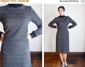 SUMMER SALE 1970s Black and Pastel Striped Sweater Dress - M