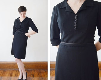 50s/60s Black Collared Dress - M