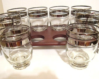 Silver Band Mid-Century Short Glasses Fitted Wood & Chrome Tray - Set 8