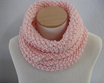 Merino Wool Snood in Ballet Pink. Hand Knit Neck Warmer. Circle Scarf. Cowl. Luxe Winter Accessories.