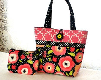 Cute Flowers Little Girls Purse Mod Floral Polka Dot Mini Tote Bag and Coin Purse Set Hot Pink Lime Green Black White Handmade MTO