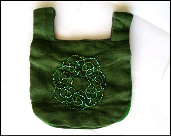 Medieval Purse - Green Linen with Beaded Celtic Knot