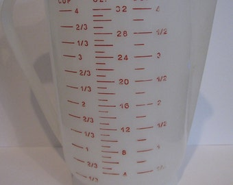 Hard to Find Eagle Plastic with Red Lettering 4 CUP Measuring Cup Pitcher Made in USA