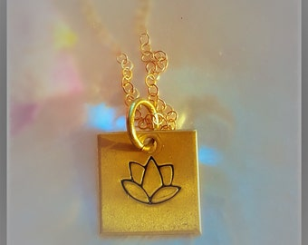 Lotus Flower Necklace Gold-fill chain square Pendant Flower jewelry Yoga Buddhist symbolic Botanical Jewelry Spiritual gifts for her