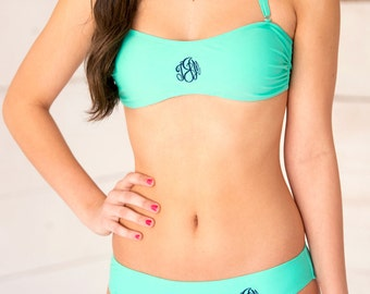 Solid Monogrammed bandeau in 4 Colors