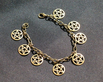Antiqued Brass Pentacle Charm Bracelet