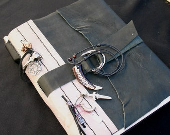 PRICE REDUCED!!~Handmade Leather Bound Book of Shadows~Samhain Themed with Skulls and hand stamped pages
