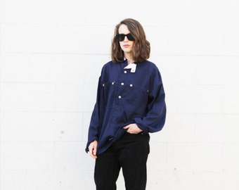 Navy workwear style cotton pullover. S/M