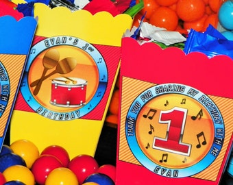 Ten Musical Themed Mini Popcorn Boxes. Drum Musical Snack Boxes. Rock N Roll Birthday Party Favor Boxes. Rock Star Table Decorations
