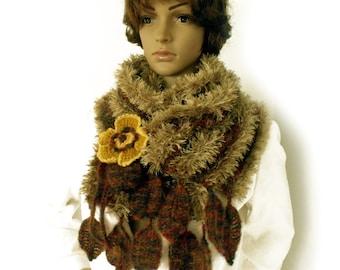 Autumn scarf, Knit boho scarf, Leaf scarf, Freeform crochet, Fall accessory, Fall fashion trend, Scarf with leaf fringe, Winter scarf