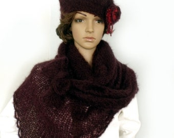 SALE Hat and scarf, Scarf hat set, Mohair shawl beret set, Beret shawl SET, Wool cape, Triangle shawl, Scarf and beret, Mohair shawl