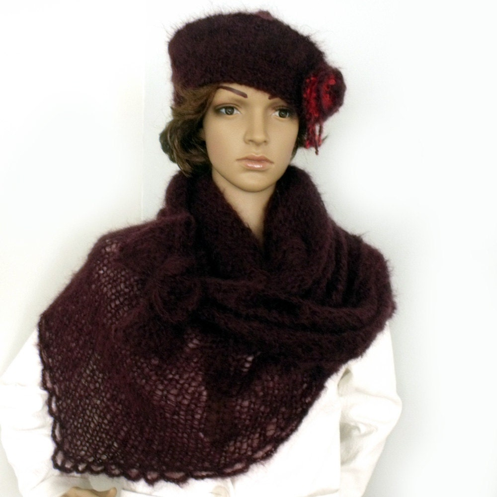 Mohair Beret Knitting Pattern : SALE Hat and scarf Scarf hat set Mohair shawl beret set