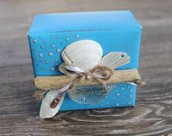 Keepsake Jewelry Gift Box Seaglass , Driftwood & Shell, Hand Painted Turquoise Beach Wedding