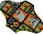 Moderate Hemp Core- Scary Stache Ghosts Reusable Cloth Maxi Pad- WindPro Fleece- 10 Inches (25.5 cm)