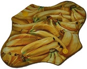 Heavy Hemp Core- Bananas Reusable Cloth Mini Pad- WindPro Fleece- 7.5 Inches (19 cm)