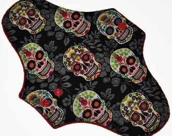Moderate Core- Floral Sugar Skulls Reusable Cloth Maxi Pad- WindPro Fleece 10 Inches (25.5 cm)