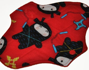 Light Hemp Core- Red Ninja Flannel Reusable Cloth Pantyliner Pad- WindPro Fleece- 8.5 Inches