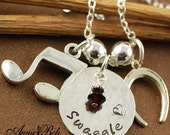 ON SALE Hand Stamped Jewelry - Luck Necklace - Personalized Jewelry - Sterling Silver Jewelry - Horseshoe Necklace- Birthstone Jewelry - Mus