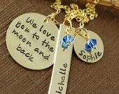 SALE Hand Stamped Keepsake, We love you to the moon and back, 14kt Gold Filled Necklace